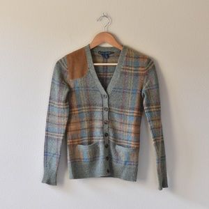 Ralph Lauren wool plaid cardigan w/ leather patch